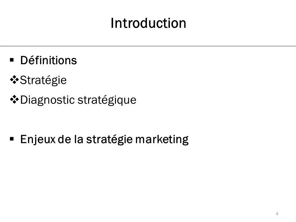 Introduction  Définitions  Stratégie  Diagnostic stratégique  Enjeux de la stratégie marketing 4