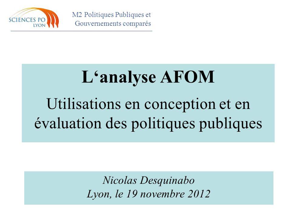 M2 Politiques Publiques et Gouvernements comparés Colloque L'analyse AFOM Utilisations en conception et en évaluation des politiques publiques Nicolas Desquinabo Lyon, le 19 novembre 2012