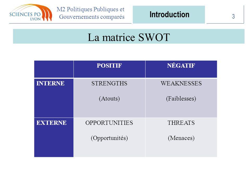 M2 Politiques Publiques et Gouvernements comparés La matrice SWOT 3 POSITIFNÉGATIF INTERNESTRENGTHS (Atouts) WEAKNESSES (Faiblesses) EXTERNEOPPORTUNITIES (Opportunités) THREATS (Menaces) Introduction