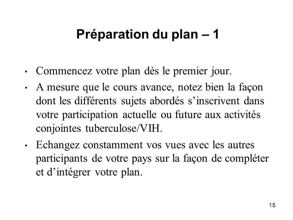 15 Préparation du plan – 1 Commencez votre plan dès le premier jour.