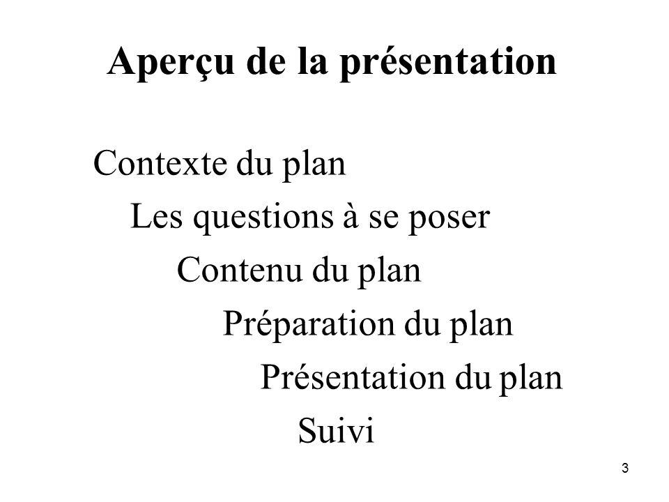 3 Aperçu de la présentation Contexte du plan Les questions à se poser Contenu du plan Préparation du plan Présentation du plan Suivi
