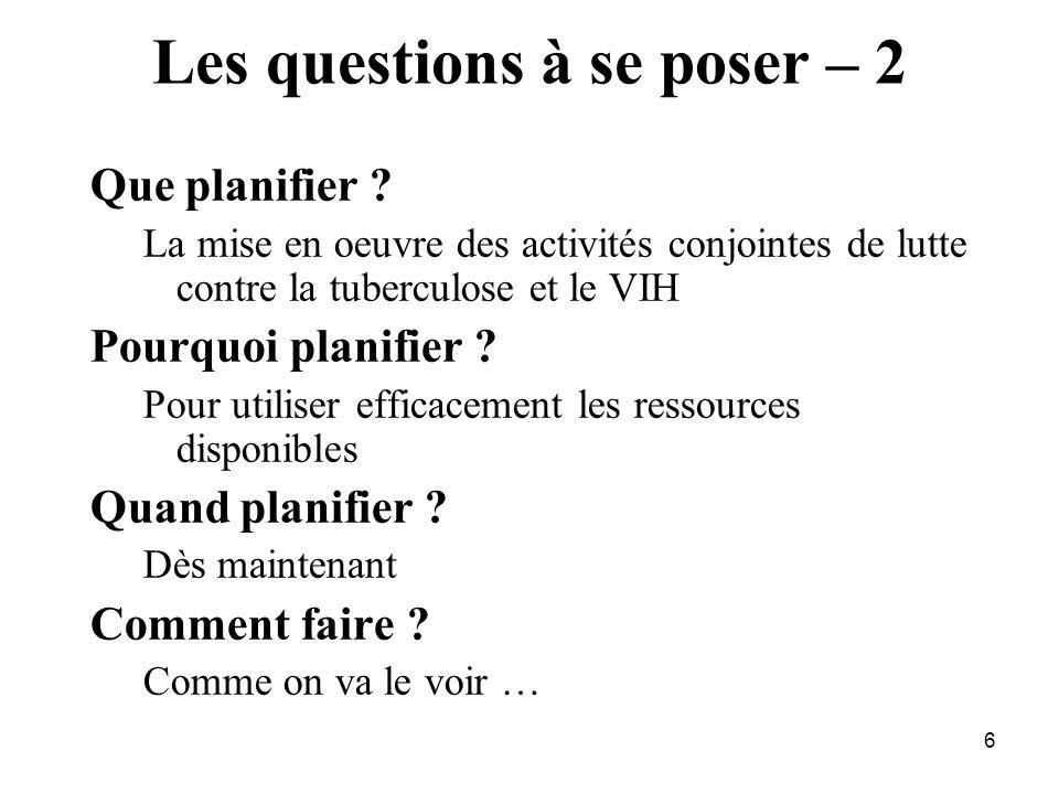 6 Les questions à se poser – 2 Que planifier .