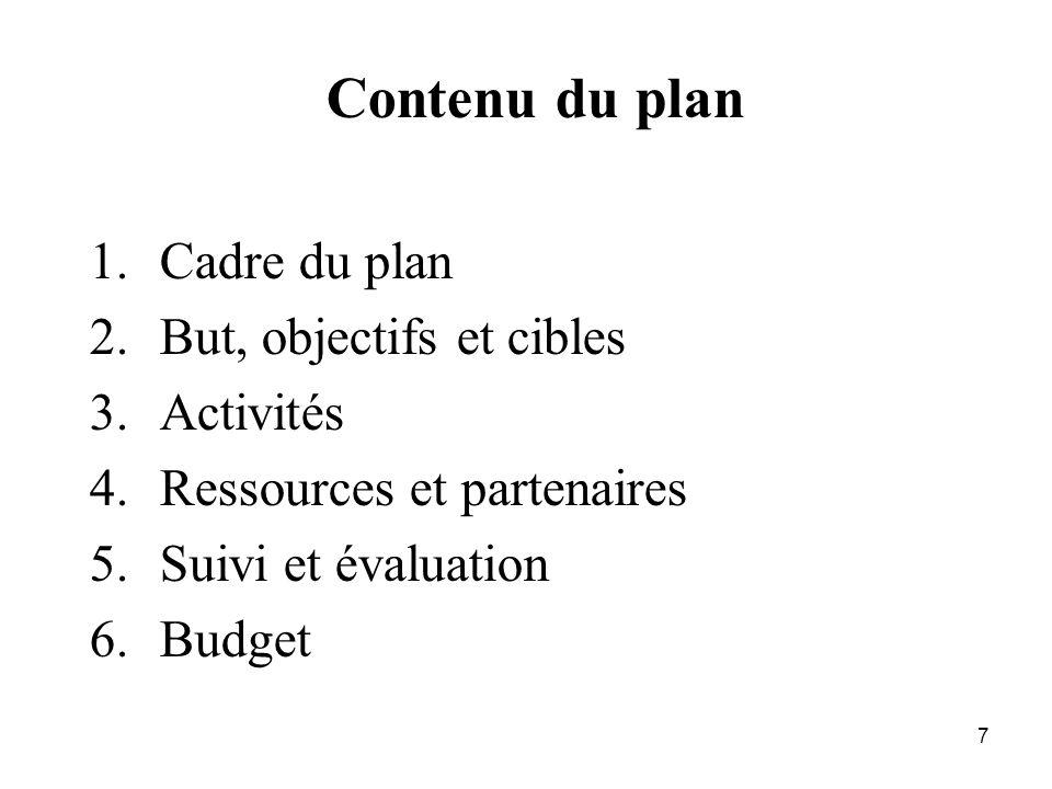 7 Contenu du plan 1.Cadre du plan 2.But, objectifs et cibles 3.Activités 4.Ressources et partenaires 5.Suivi et évaluation 6.Budget