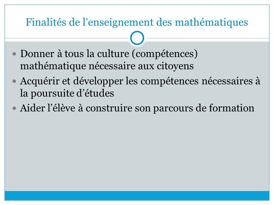 Finalités de l'enseignement des mathématiques Donner à tous la culture (compétences) mathématique nécessaire aux citoyens Acquérir et développer les compétences nécessaires à la poursuite d'études Aider l'élève à construire son parcours de formation