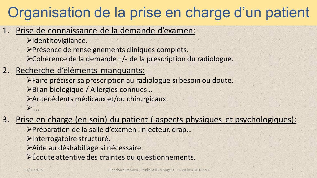 Organisation de la prise en charge d'un patient 1.Prise de connaissance de la demande d'examen:  Identitovigilance.