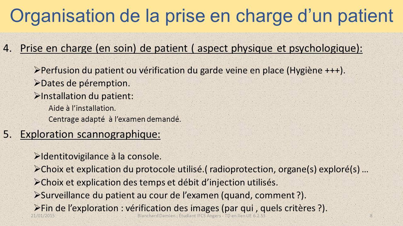 Organisation de la prise en charge d'un patient 4.Prise en charge (en soin) de patient ( aspect physique et psychologique):  Perfusion du patient ou vérification du garde veine en place (Hygiène +++).