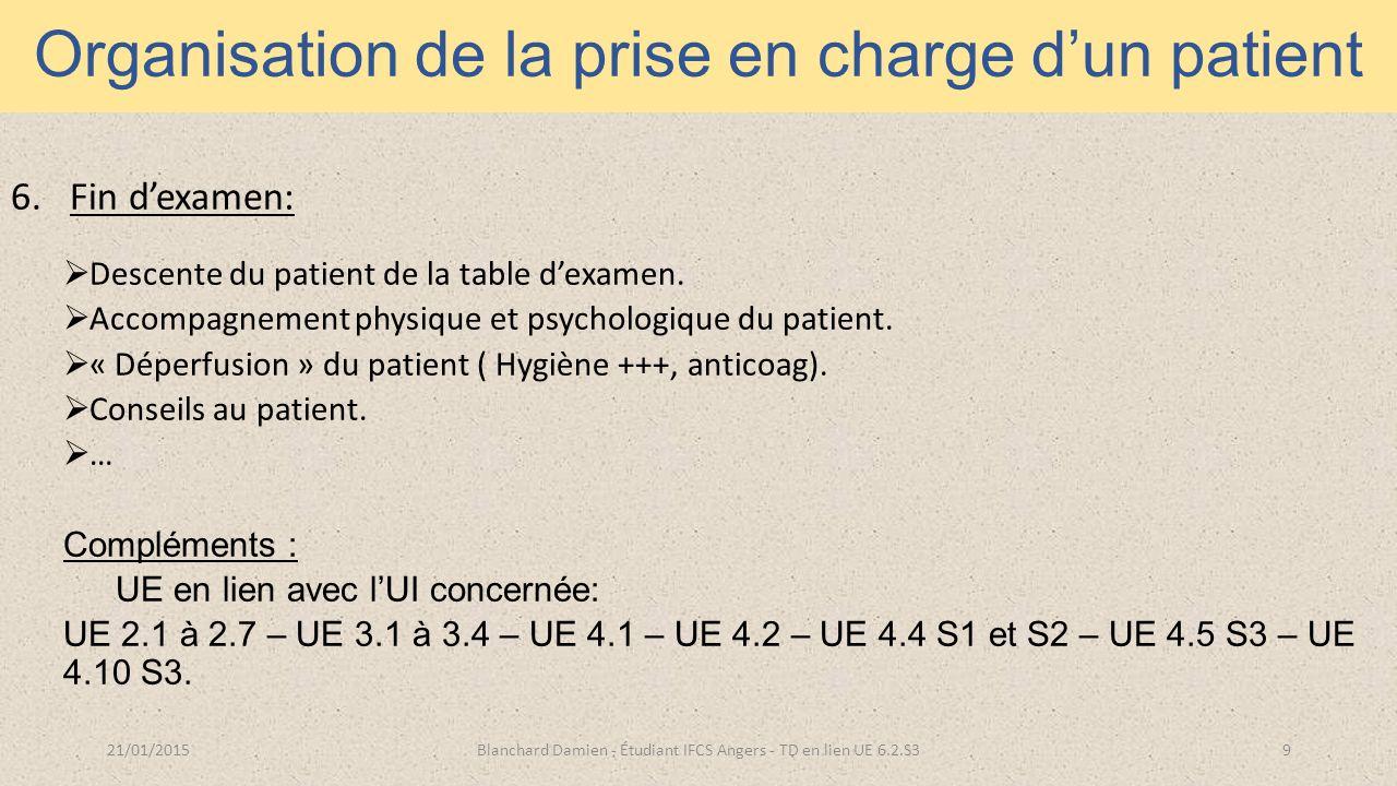 Organisation de la prise en charge d'un patient 6.Fin d'examen:  Descente du patient de la table d'examen.