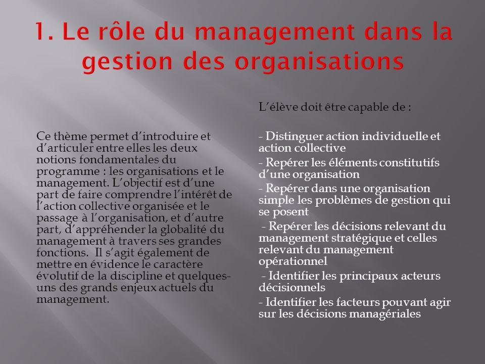 Ce thème permet d'introduire et d'articuler entre elles les deux notions fondamentales du programme : les organisations et le management.