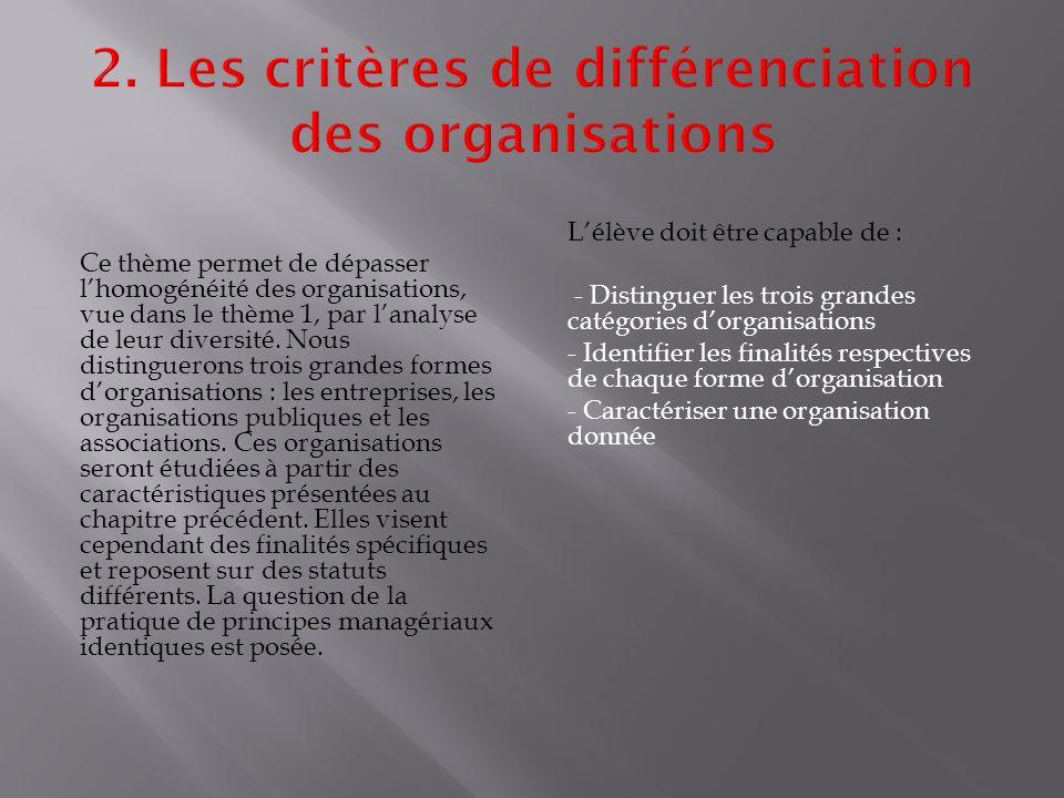 Ce thème permet de dépasser l'homogénéité des organisations, vue dans le thème 1, par l'analyse de leur diversité.