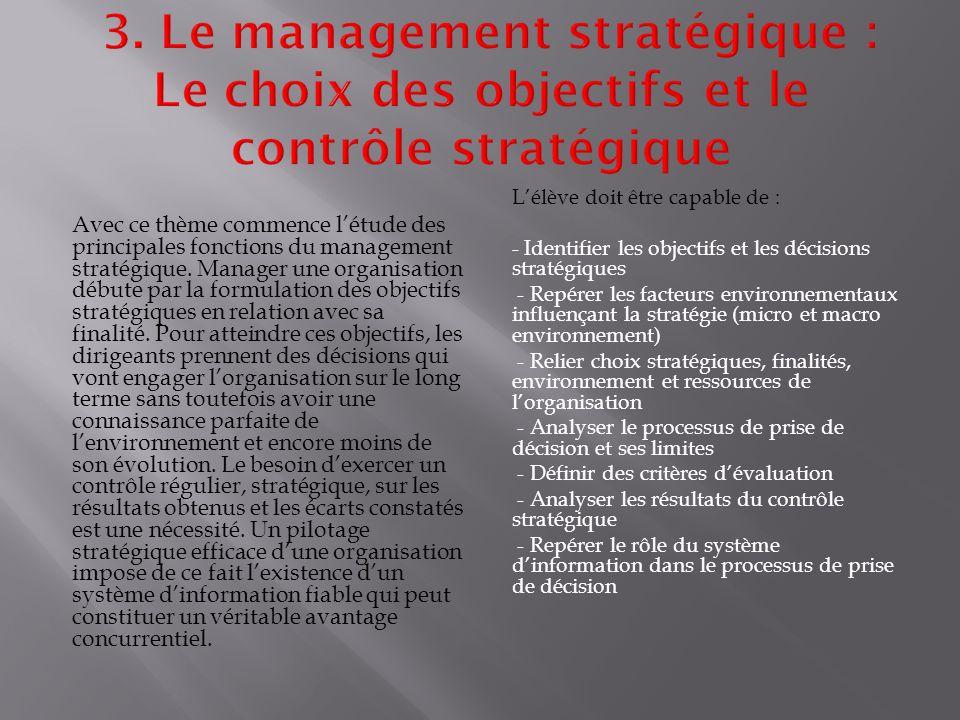 Avec ce thème commence l'étude des principales fonctions du management stratégique.