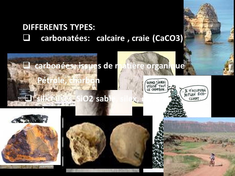 DIFFERENTS TYPES:  carbonatées: calcaire, craie (CaCO3)  carbonées: issues de matière organique Pétrole, charbon  siliceuses SiO2 sable, silex, riche en quartz