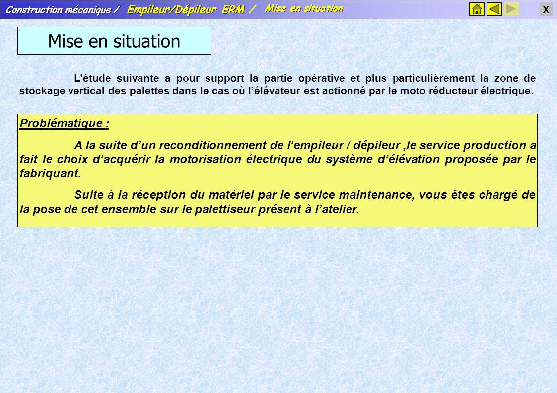 Construction mécanique / Empileur/Dépileur ERM Construction mécanique / Empileur/Dépileur ERM / X Mise en situation Mise en situation Mise en situatio