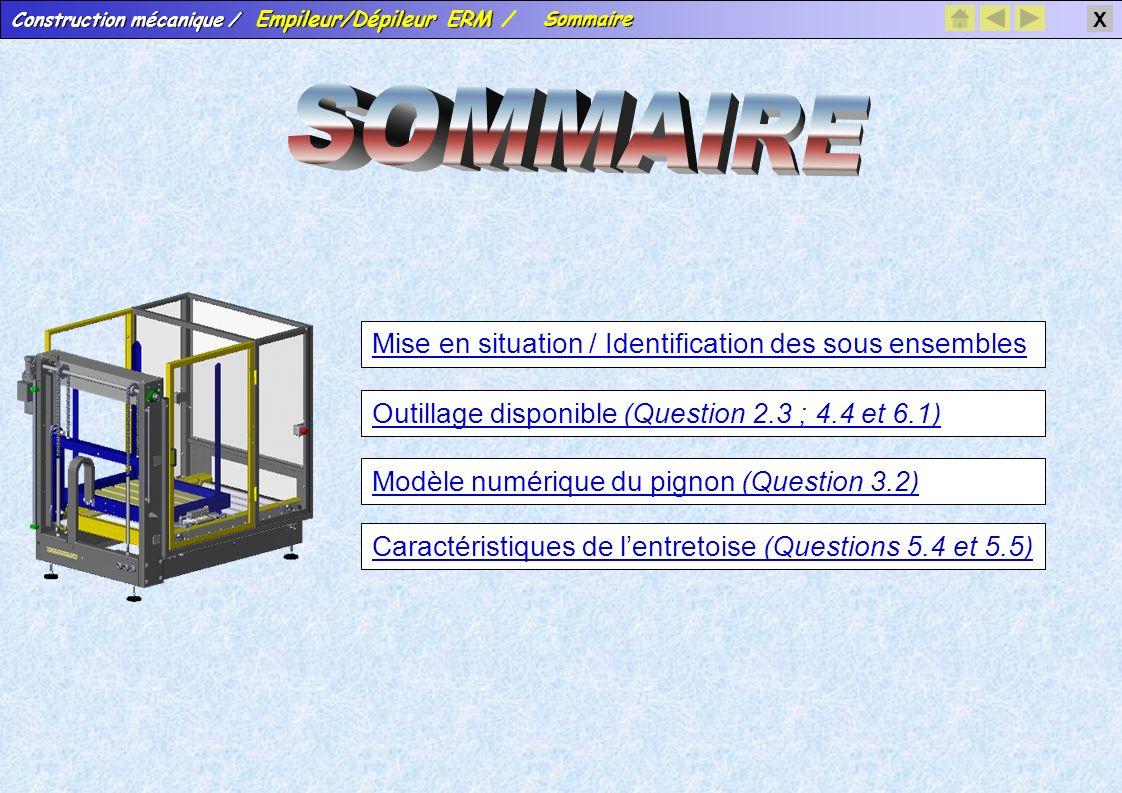 Construction mécanique / Empileur/Dépileur ERM Construction mécanique / Empileur/Dépileur ERM / X Sommaire Sommaire Mise en situation / Identification