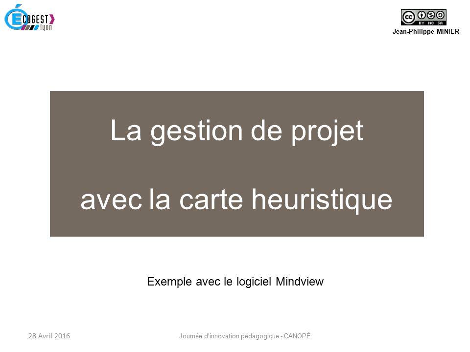 Jean-Philippe MINIER La gestion de projet avec la carte heuristique 28 Avril 2016 Journée d'innovation pédagogique - CANOPÉ Exemple avec le logiciel Mindview