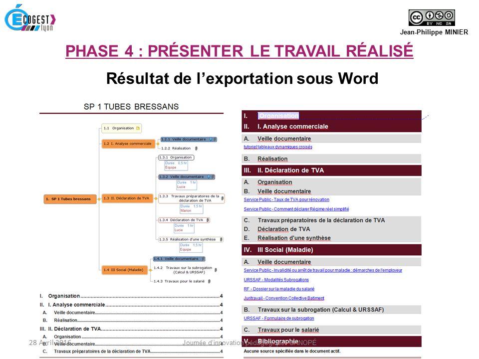 Résultat de l'exportation sous Word Jean-Philippe MINIER 28 Avril 2016 Journée d'innovation pédagogique - CANOPÉ PHASE 4 : PRÉSENTER LE TRAVAIL RÉALISÉ
