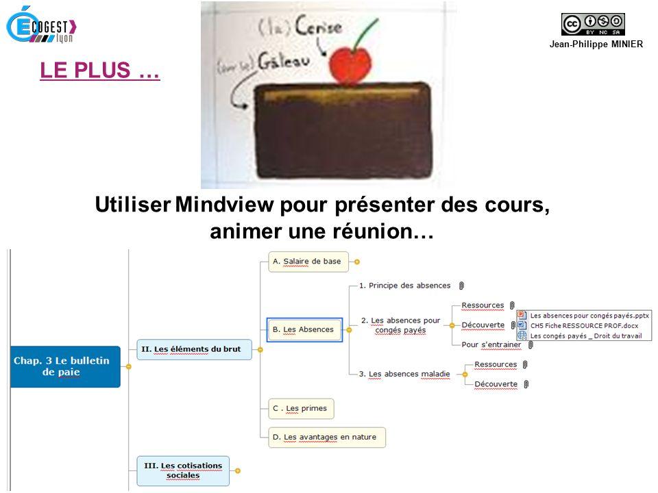 Utiliser Mindview pour présenter des cours, animer une réunion… Jean-Philippe MINIER 28 Avril 2016 Journée d'innovation pédagogique - CANOPÉ LE PLUS …