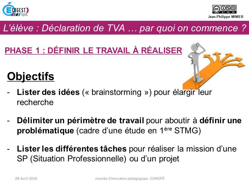 Objectifs -Lister des idées (« brainstorming ») pour élargir leur recherche -Délimiter un périmètre de travail pour aboutir à définir une problématique (cadre d'une étude en 1 ère STMG) -Lister les différentes tâches pour réaliser la mission d'une SP (Situation Professionnelle) ou d'un projet Jean-Philippe MINIER PHASE 1 : DÉFINIR LE TRAVAIL À RÉALISER 28 Avril 2016 Journée d'innovation pédagogique - CANOPÉ L'élève : Déclaration de TVA … par quoi on commence