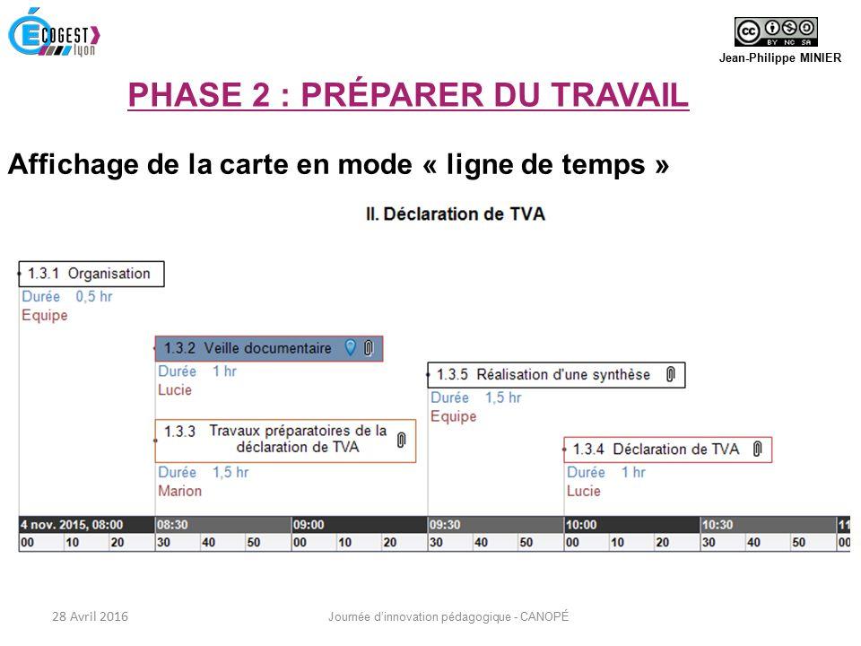 Affichage de la carte en mode « ligne de temps » Jean-Philippe MINIER 28 Avril 2016 Journée d'innovation pédagogique - CANOPÉ PHASE 2 : PRÉPARER DU TRAVAIL