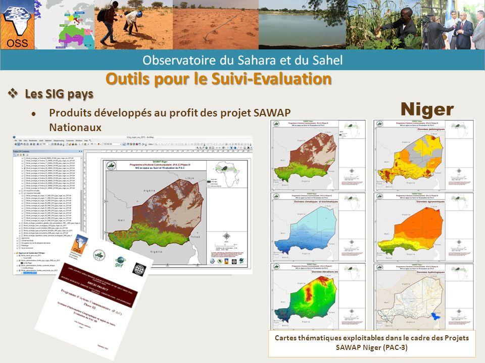 Cartes thématiques exploitables dans le cadre des Projets SAWAP Niger (PAC-3) Niger  Les SIG pays ● Produits développés au profit des projet SAWAP Nationaux Outils pour le Suivi-Evaluation