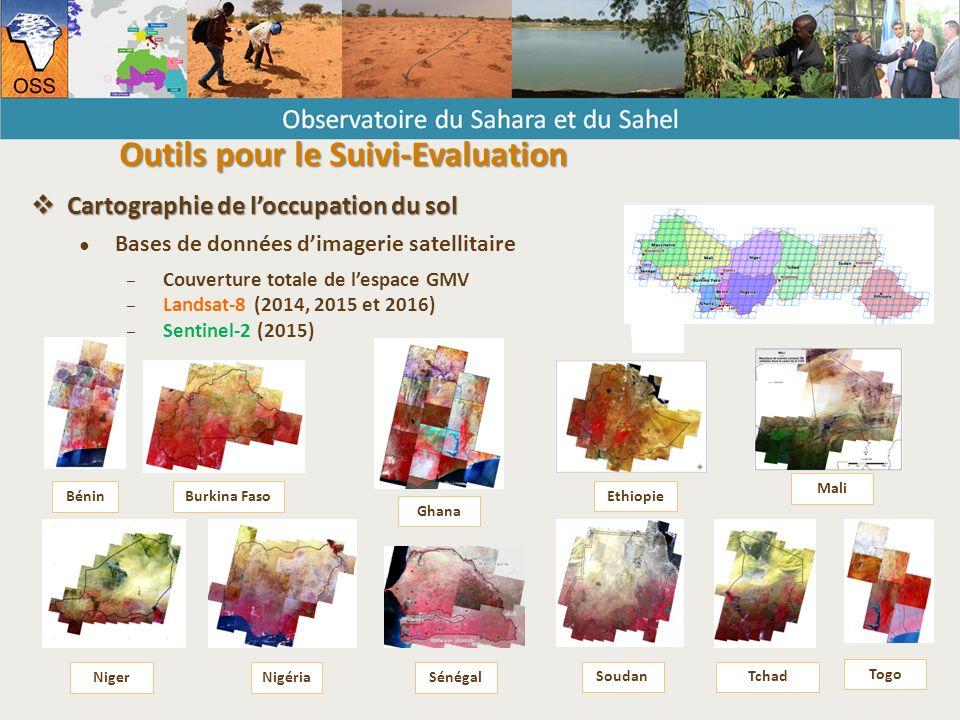  Cartographie de l'occupation du sol ● Bases de données d'imagerie satellitaire – Couverture totale de l'espace GMV – Landsat-8 (2014, 2015 et 2016) – Sentinel-2 (2015) BéninBurkina Faso Ethiopie Ghana Mali NigerNigériaSénégal Soudan Togo Tchad Outils pour le Suivi-Evaluation