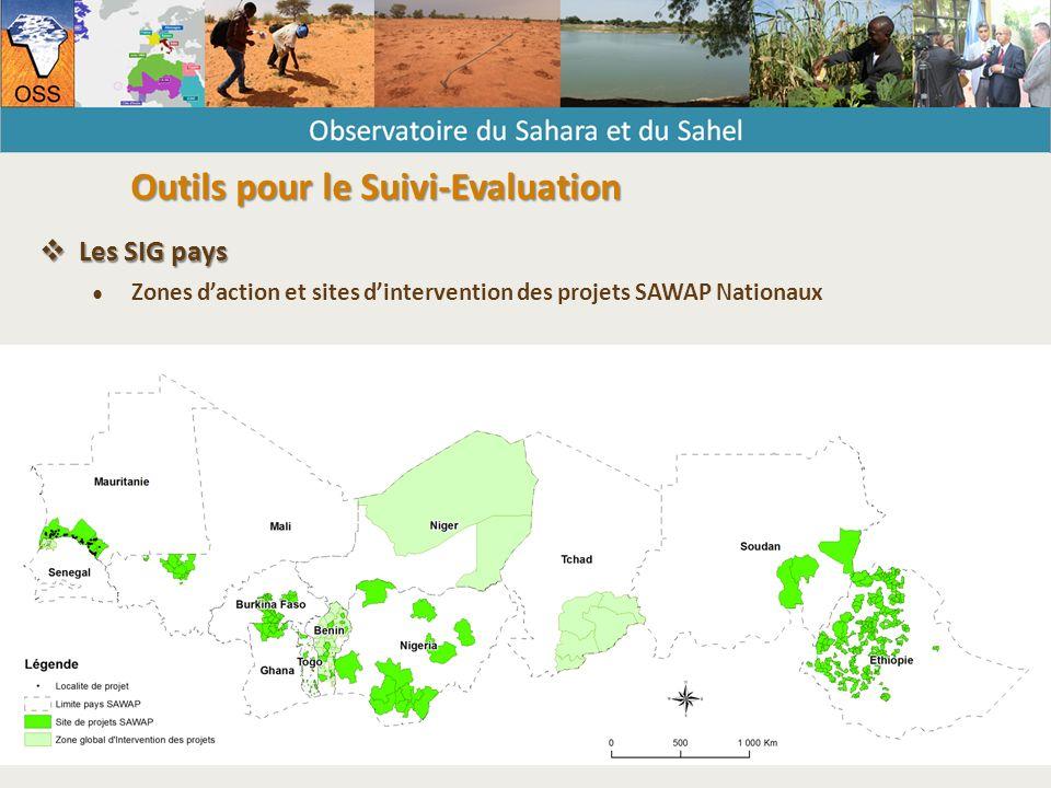  Les SIG pays ● Zones d'action et sites d'intervention des projets SAWAP Nationaux Outils pour le Suivi-Evaluation
