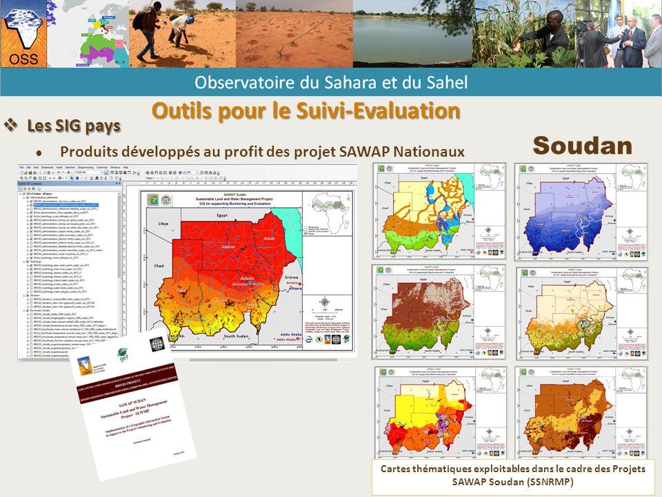 Cartes thématiques exploitables dans le cadre des Projets SAWAP Soudan (SSNRMP) Soudan  Les SIG pays ● Produits développés au profit des projet SAWAP Nationaux Outils pour le Suivi-Evaluation