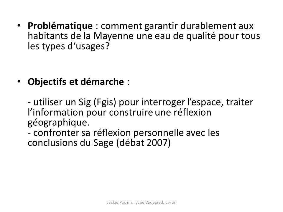 Problématique : comment garantir durablement aux habitants de la Mayenne une eau de qualité pour tous les types d'usages.