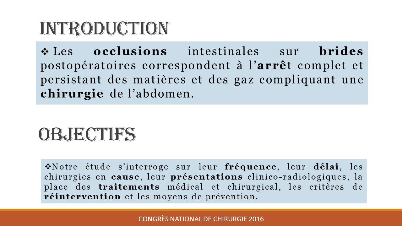 Introduction  Les occlusions intestinales sur brides postopératoires correspondent à l'arrêt complet et persistant des matières et des gaz compliquant une chirurgie de l'abdomen.
