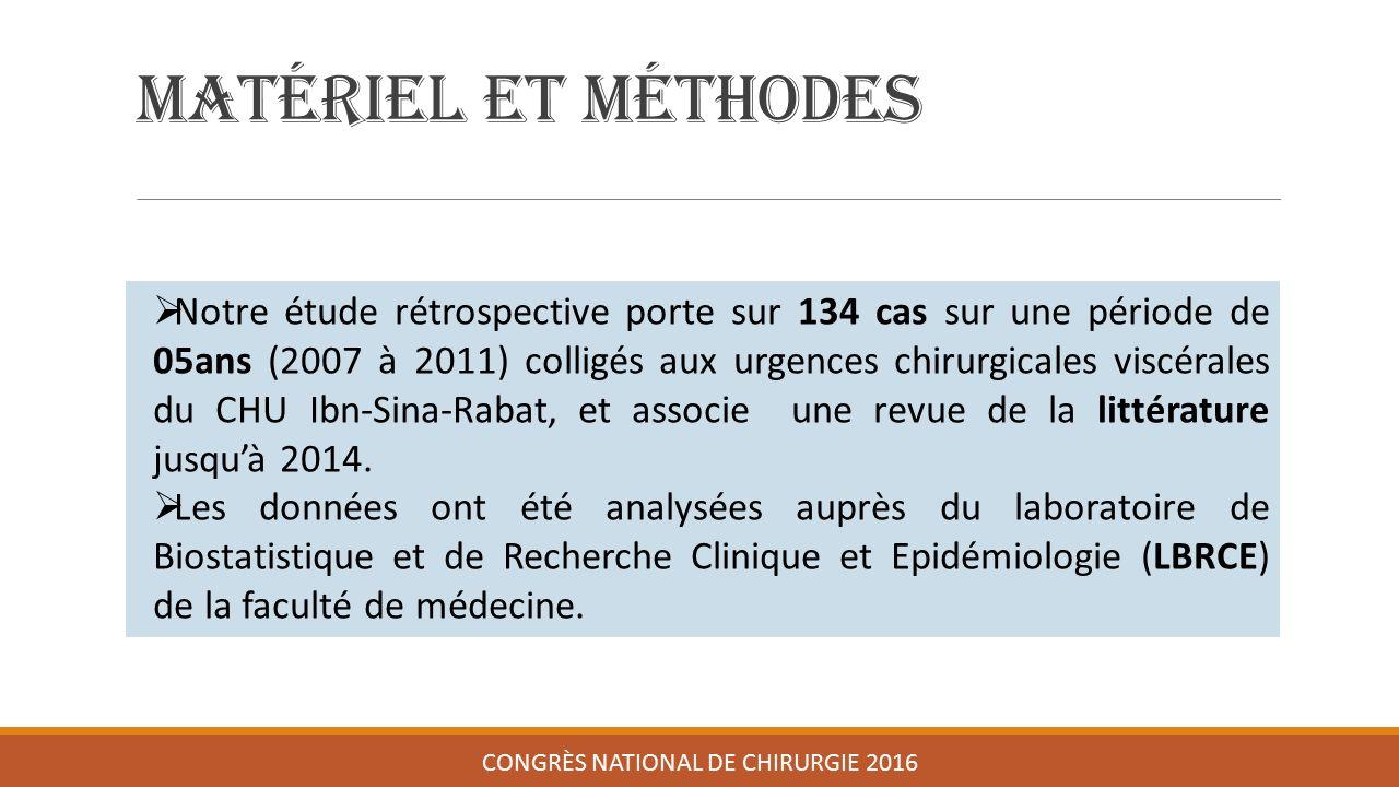 Matériel et méthodes CONGRÈS NATIONAL DE CHIRURGIE 2016  Notre étude rétrospective porte sur 134 cas sur une période de 05ans (2007 à 2011) colligés aux urgences chirurgicales viscérales du CHU Ibn-Sina-Rabat, et associe une revue de la littérature jusqu'à 2014.