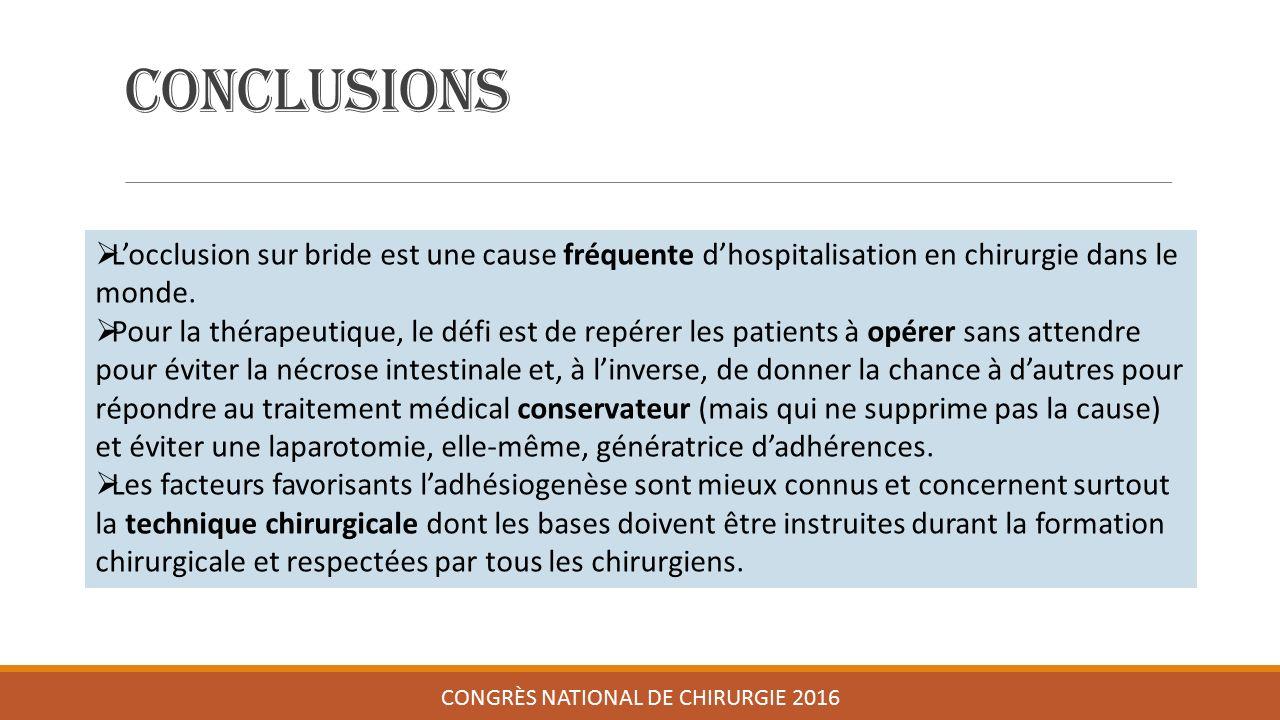Conclusions CONGRÈS NATIONAL DE CHIRURGIE 2016  L'occlusion sur bride est une cause fréquente d'hospitalisation en chirurgie dans le monde.