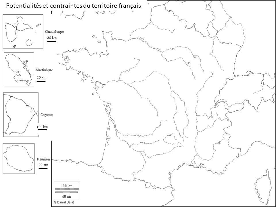100 km 20 km Potentialités et contraintes du territoire français