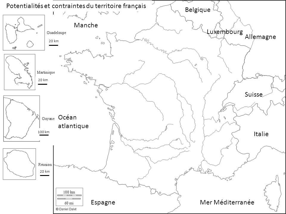 100 km 20 km Potentialités et contraintes du territoire français Mer Méditerranée Océan atlantique Manche Espagne Italie Suisse Allemagne Luxembourg Belgique
