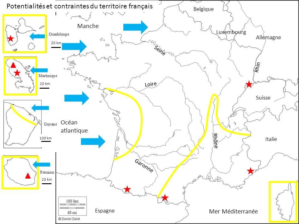 100 km 20 km Potentialités et contraintes du territoire français Mer Méditerranée Océan atlantique Manche Espagne Italie Suisse Allemagne Luxembourg Belgique Seine Loire Rhin Garonne Rhône