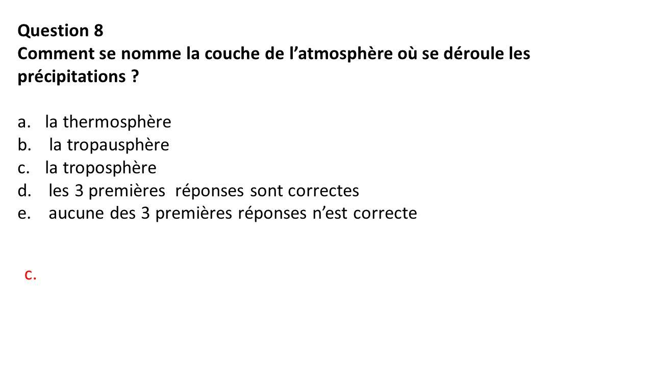 Question 8 Comment se nomme la couche de l'atmosphère où se déroule les précipitations .