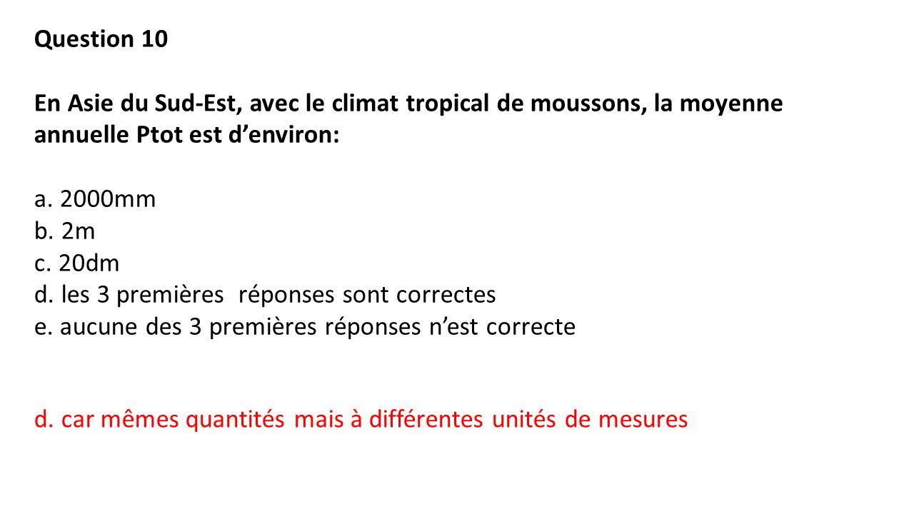 Question 10 En Asie du Sud-Est, avec le climat tropical de moussons, la moyenne annuelle Ptot est d'environ: a.