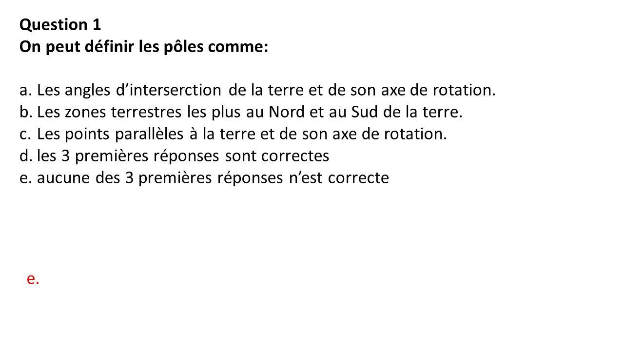 Question 1 On peut définir les pôles comme: a.Les angles d'interserction de la terre et de son axe de rotation.