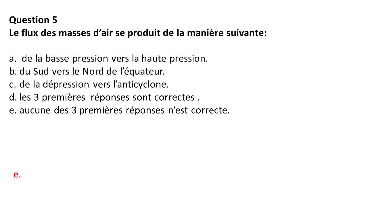Question 5 Le flux des masses d'air se produit de la manière suivante: a.