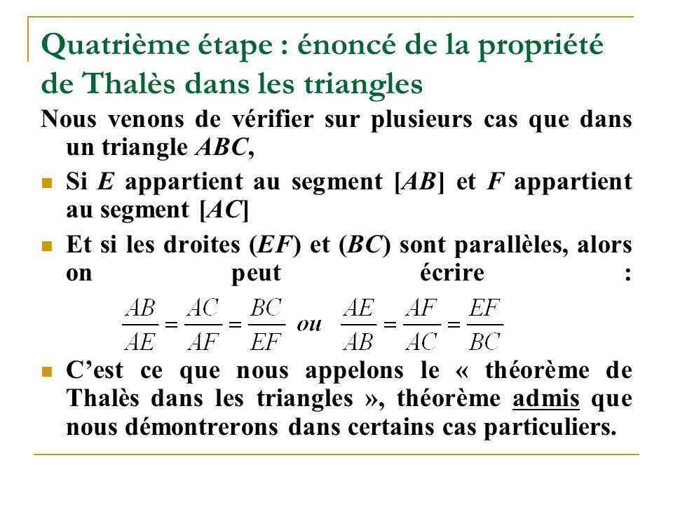 Quatrième étape : énoncé de la propriété de Thalès dans les triangles Nous venons de vérifier sur plusieurs cas que dans un triangle ABC, Si E appartient au segment [AB] et F appartient au segment [AC] Et si les droites (EF) et (BC) sont parallèles, alors on peut écrire : C'est ce que nous appelons le « théorème de Thalès dans les triangles », théorème admis que nous démontrerons dans certains cas particuliers.