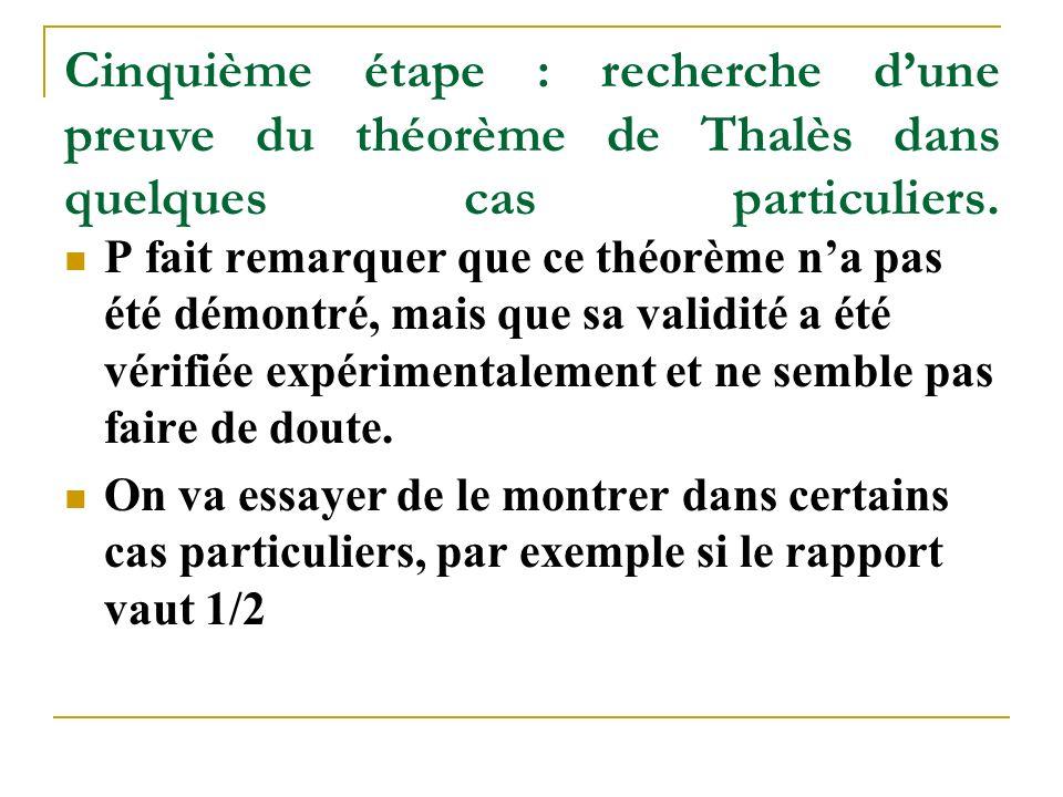 Cinquième étape : recherche d'une preuve du théorème de Thalès dans quelques cas particuliers.
