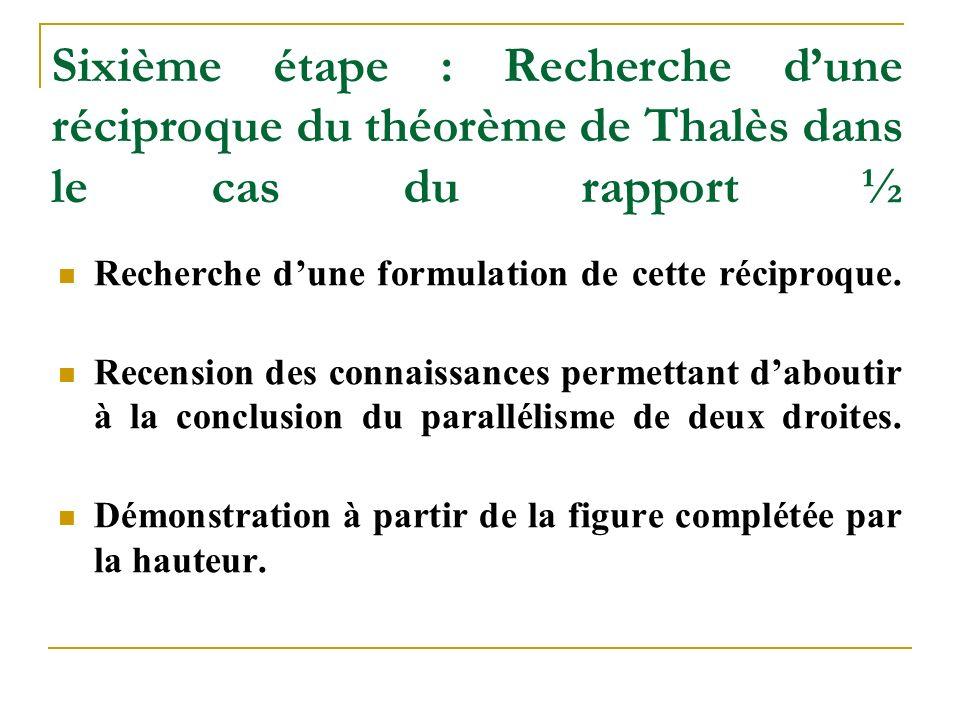 Sixième étape : Recherche d'une réciproque du théorème de Thalès dans le cas du rapport ½ Recherche d'une formulation de cette réciproque.