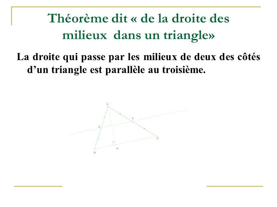 Théorème dit « de la droite des milieux dans un triangle» La droite qui passe par les milieux de deux des côtés d'un triangle est parallèle au troisième.