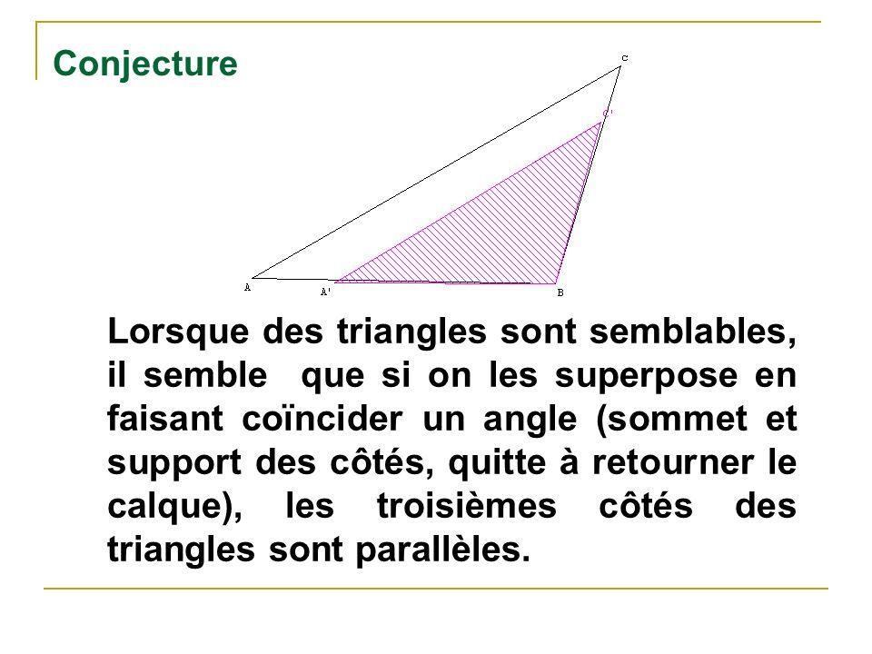 Conjecture Lorsque des triangles sont semblables, il semble que si on les superpose en faisant coïncider un angle (sommet et support des côtés, quitte à retourner le calque), les troisièmes côtés des triangles sont parallèles.
