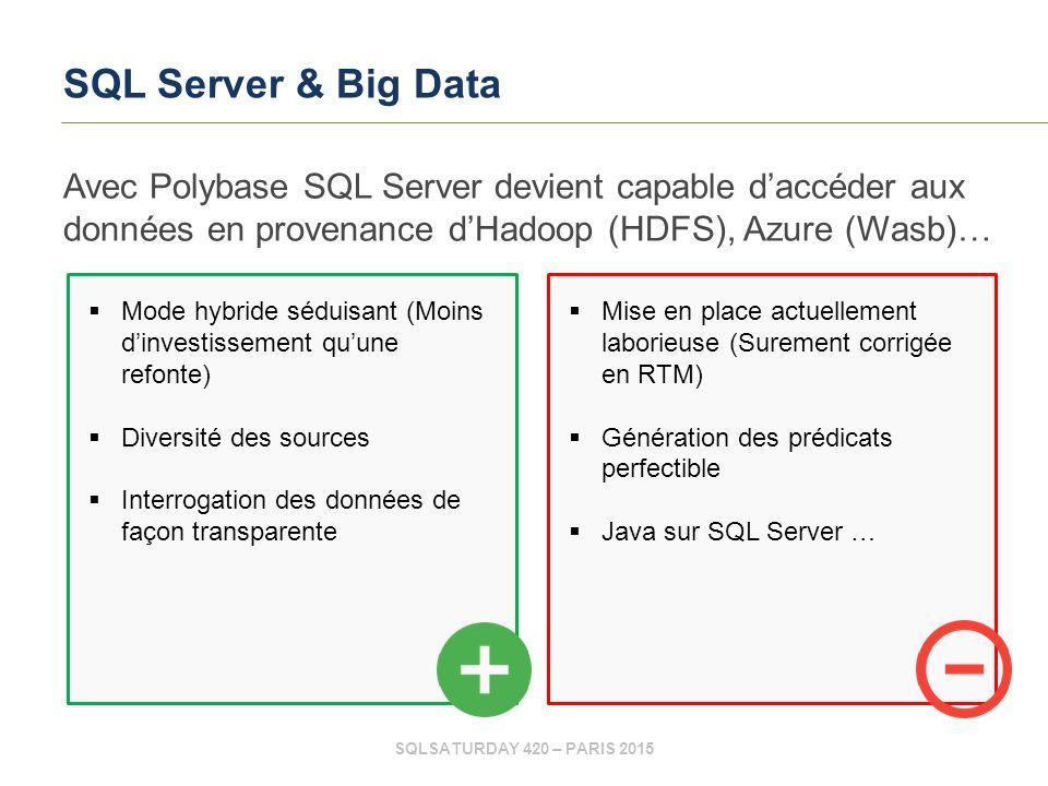 SQLSATURDAY 420 – PARIS 2015 SQL Server & Big Data Avec Polybase SQL Server devient capable d'accéder aux données en provenance d'Hadoop (HDFS), Azure (Wasb)…  Mise en place actuellement laborieuse (Surement corrigée en RTM)  Génération des prédicats perfectible  Java sur SQL Server …  Mode hybride séduisant (Moins d'investissement qu'une refonte)  Diversité des sources  Interrogation des données de façon transparente