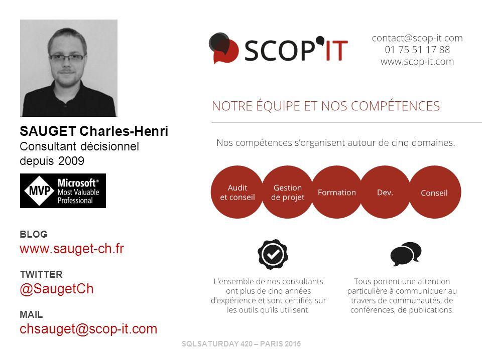 SQLSATURDAY 420 – PARIS 2015 SAUGET Charles-Henri Consultant décisionnel depuis 2009 BLOG www.sauget-ch.fr TWITTER @SaugetCh MAIL chsauget@scop-it.com