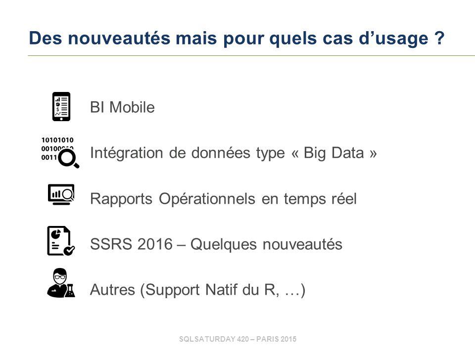 SQLSATURDAY 420 – PARIS 2015 Des nouveautés mais pour quels cas d'usage .