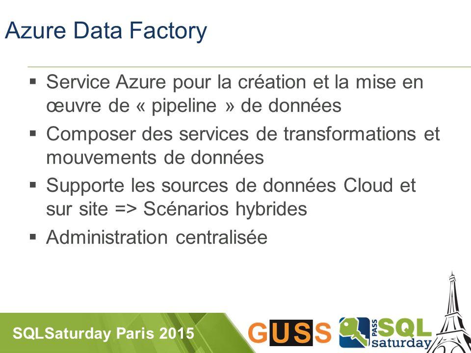 SQLSaturday Paris 2015 Azure Data Factory  Service Azure pour la création et la mise en œuvre de « pipeline » de données  Composer des services de transformations et mouvements de données  Supporte les sources de données Cloud et sur site => Scénarios hybrides  Administration centralisée