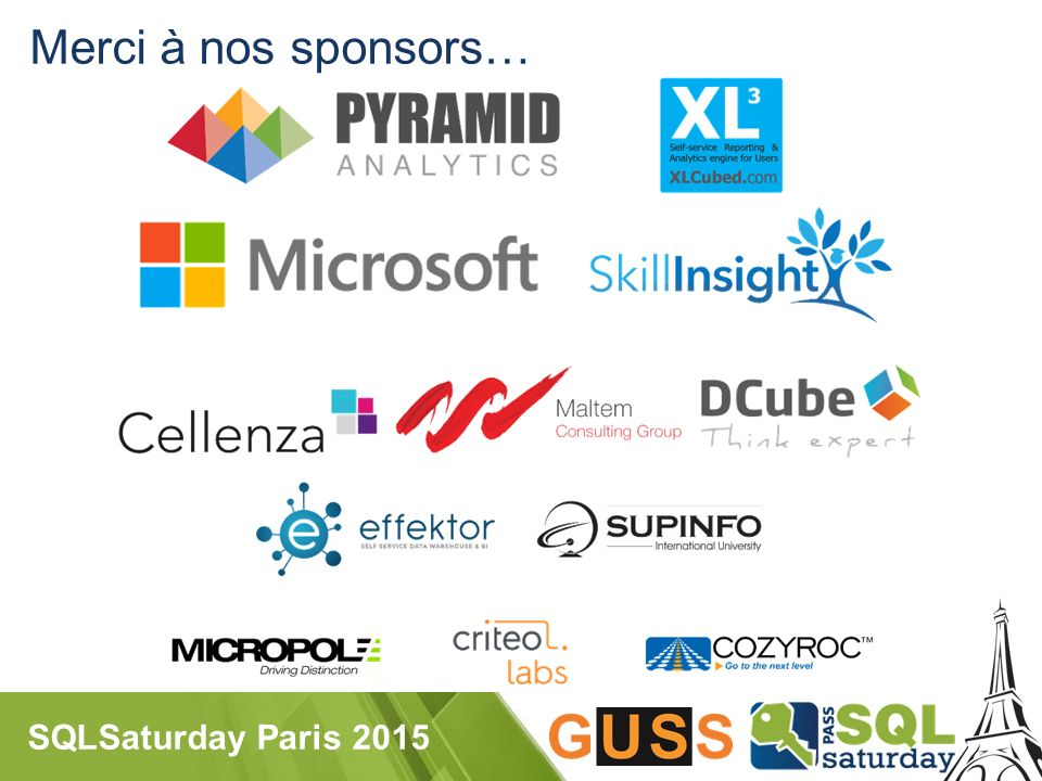 SQLSaturday Paris 2015 Merci à nos sponsors…
