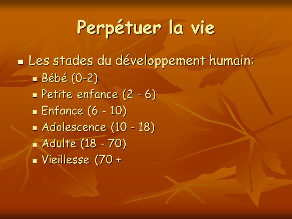 Perpétuer la vie Les stades du développement humain: Les stades du développement humain: Bébé (0-2) Bébé (0-2) Petite enfance (2 - 6) Petite enfance (