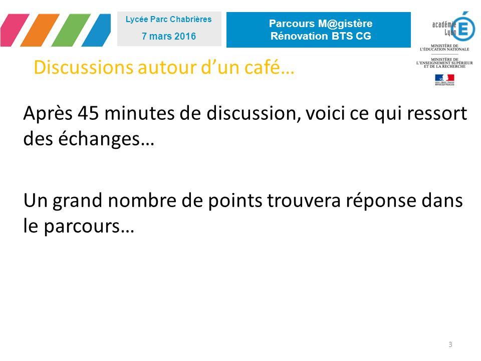 Discussions autour d'un café… Après 45 minutes de discussion, voici ce qui ressort des échanges… Un grand nombre de points trouvera réponse dans le parcours… 3 Lycée Parc Chabrières 7 mars 2016 Parcours M@gistère Rénovation BTS CG