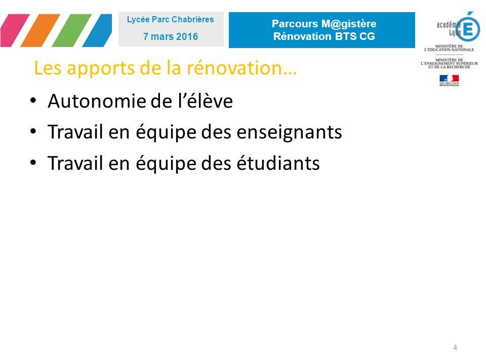 Les apports de la rénovation… 4 Lycée Parc Chabrières 7 mars 2016 Parcours M@gistère Rénovation BTS CG Autonomie de l'élève Travail en équipe des enseignants Travail en équipe des étudiants